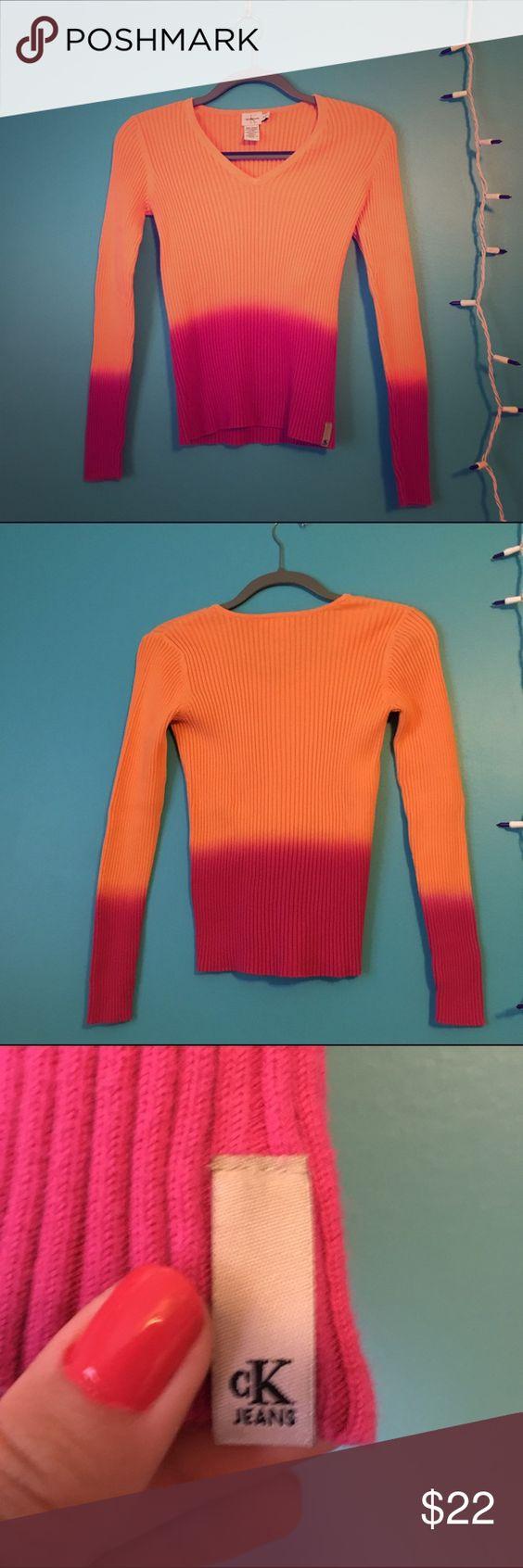 Calvin Klein dip dye sweater Size S, authentic CK, great condition Calvin Klein Sweaters V-Necks