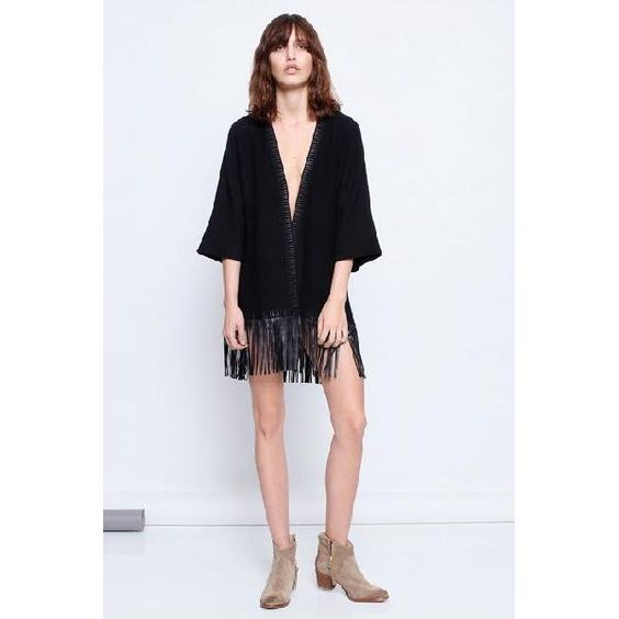 evaChic | This Zadig & Voltaire Clark Leather Fringe Cashmere Sweater is a bohemian-inspired cool outerwear piece for transitional weather! http://www.evachic.com/product/new-1070-zadig-voltaire-clark-leather-fringe-cashmere-cardigan-one-size-chic/