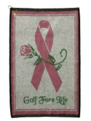 Breast Cancer Awareness : Winning Edge Golf Towel-Golf For Life