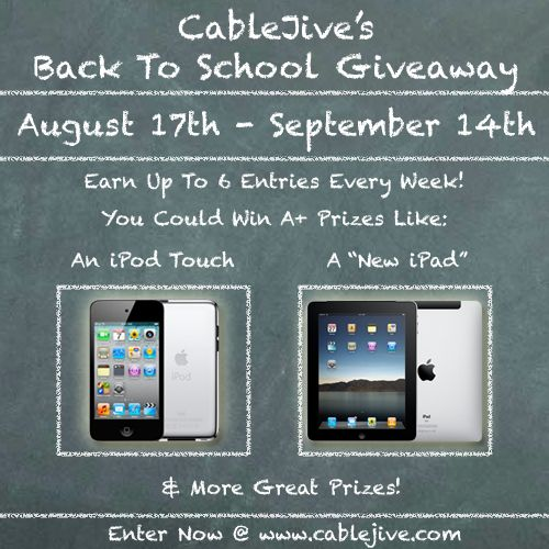 I entered to win an iPod Touch or iPad from CableJive.