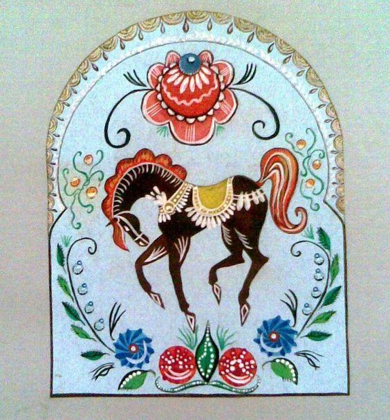 Gorodetskaya painting russian folk for Folk art craft paint
