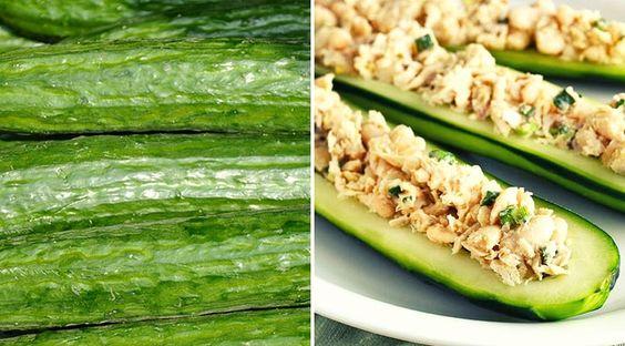 Low Carb Rezept für leckere Thunfisch-Gurken Baguettes. Wenig Kohlenhydrate und einfach zum Nachkochen. Super für Diät/zum Abnehmen.