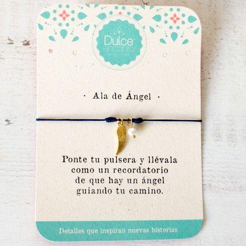 Pulsera Hilo Ala De ángel Guía Protección Dulce Encanto Accesorios Color Azul Oscuro Pulseras Con Mensaje Pulseras De Hilo Hacer Pulseras Bisuteria