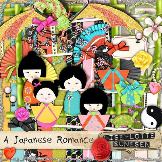"""Numérique Kit """"A japonais Romance"""" - un Kit de Scrapbooking Digital - parfait pour le Scrapbooking numérique, cartes, Invitations - 12 x 12 pouces 300 dpi"""