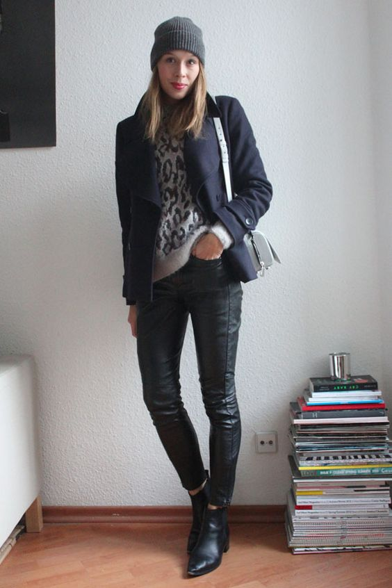 Leather pants by MuuBaa and leo jumper by & Other Stories.