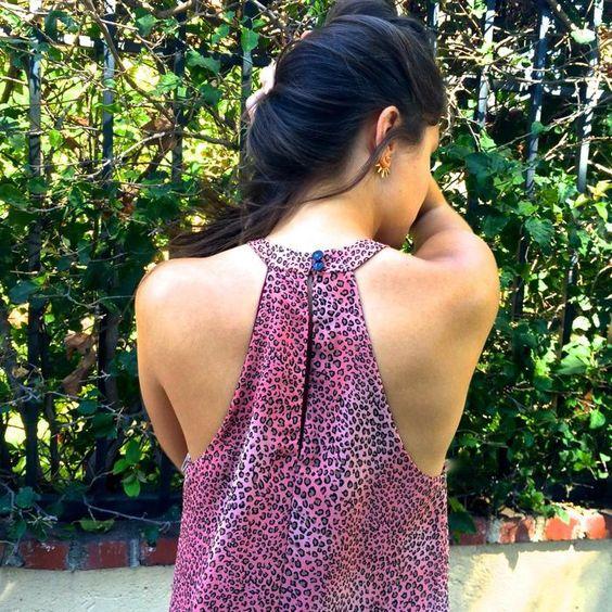 Pink Leopard Print High-Neck Dress