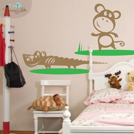 Liven up a nursery or child's room with our Monkey and Crocodile vinyl decals, which are part of our Playful Jungle Pals collection.  These animated animals will add a little life to undecorated walls and a lot of fun for your little one.