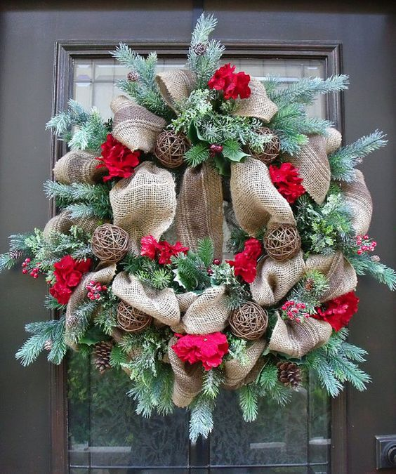 Burlap christmas wreath winter burlap wreath rustic for Burlap wreath with lights