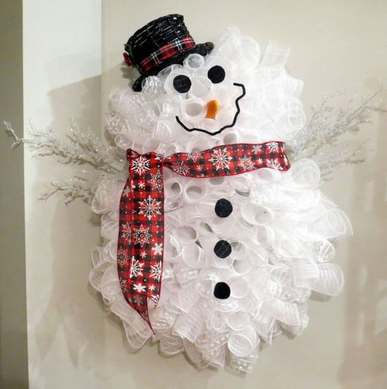 NEW Premium & Full Snowman Deco Mesh Door by PurposefulHomeDecor
