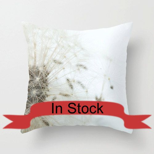 """16"""" Dandelion Pillow Cover White Throw Pillow Cushions Modern Home Decor Pillow Cover Polyester Pillow Case 18x18 Abstract In Stock http://ift.tt/1HW7DgC"""