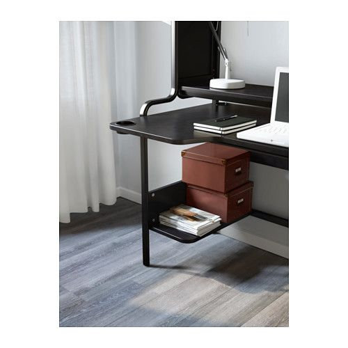 Fredde Tyopoyta Musta 185x74x146 Cm Ikea Desk Black Desk Small Shelves