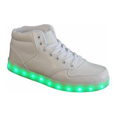 Zapatillas Con Luces LED Hombre Altos Blanco