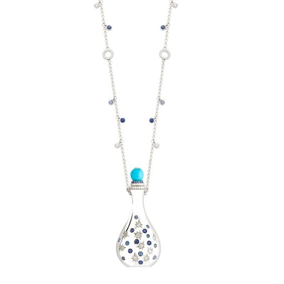 This white gold Amelia amulet by John Rubel, decorated with turquoise, diamonds and blue sapphires, can be used as a perfume bottle (POA). Discover more from the amulet jewellery trend: http://www.thejewelleryeditor.com/window-shopping/jewellery-for-her/john-rubel-amelia-turquoise-diamond-sapphire-perfume-amulet/ #jewelry #fashion