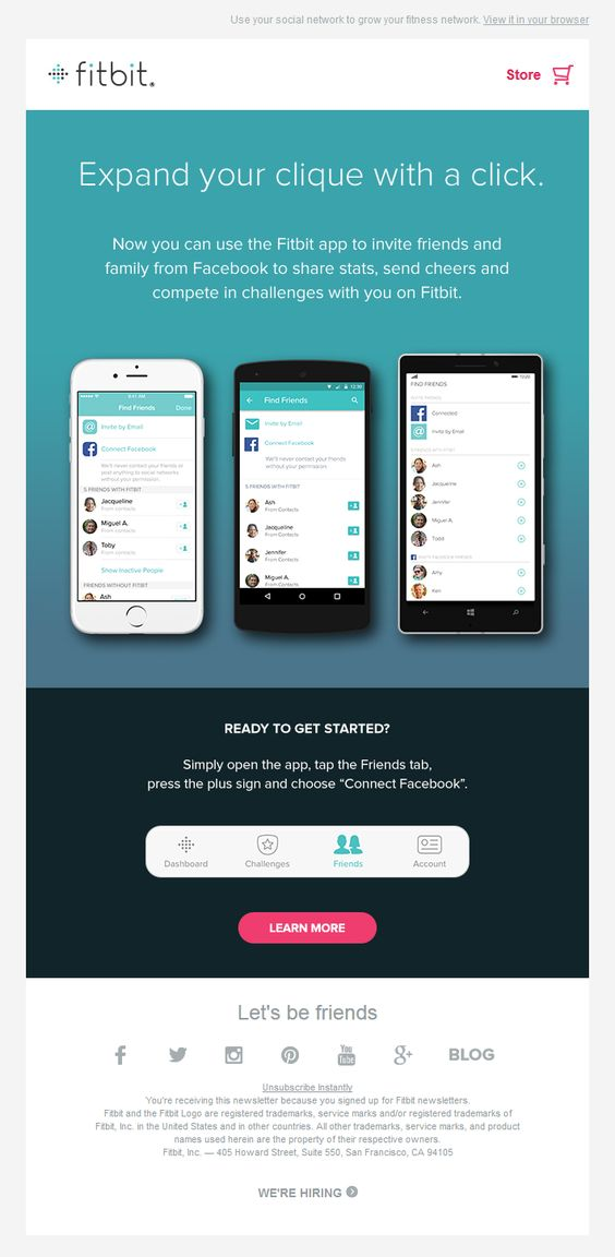 Fitbit Gamification Email  // SL: Add more Fitbit friends with Facebook! // Sent April 2015