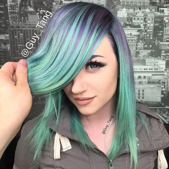 Who love cool tones? Some smoky mint tones on my HairBestie @mykie_
