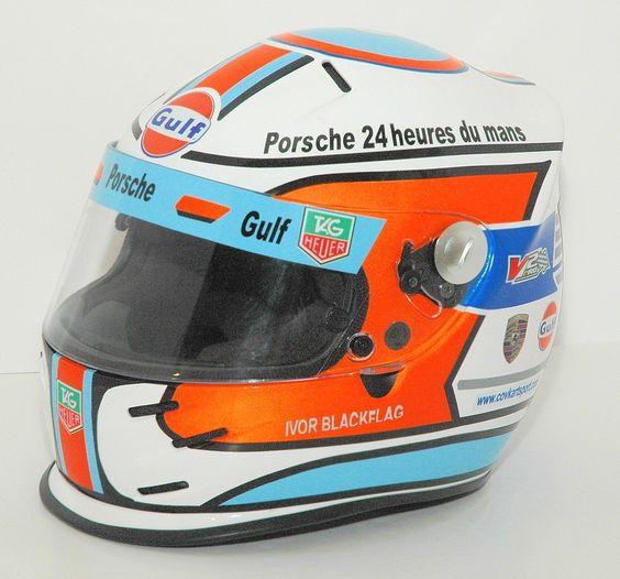 Porsche 24 hours helmet in Gulf Livery (via @Leo Verdonck )