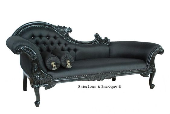 Queen anne 39 s revenge chaise black queen anne baroque for Baroque chaise lounge sofa