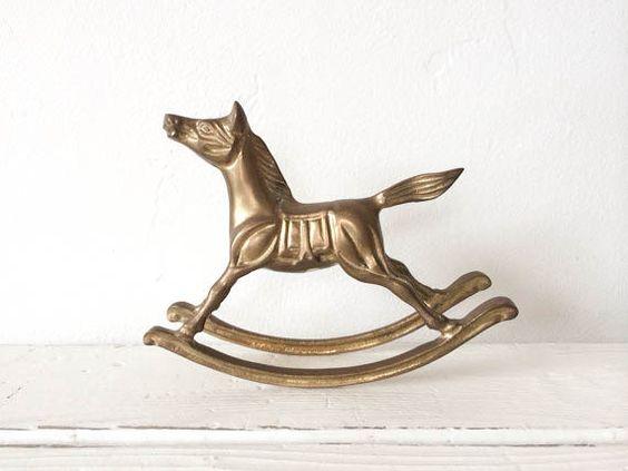 Cheval à bascule en laiton Vintage
