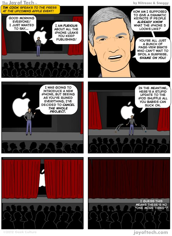 The Joy of Tech comic, The keynote Tim Cook really wants to make.