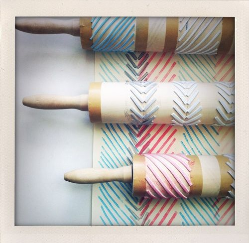 DIY stamping with rolling pins (made me think of you @Fran Baas!)