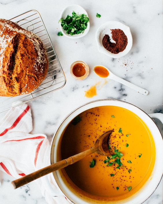 Spiced Carrot-Apple Soup. A warmly spiced, ginger carrot soup with apple and allspice.  Healthy, soothing and delicious.