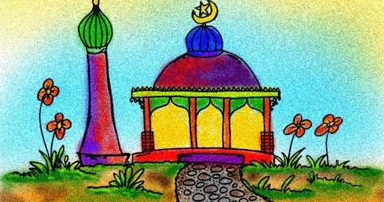 Contoh Mewarnai Masjid Www Gambar Mewarnai Com Gambar Warna
