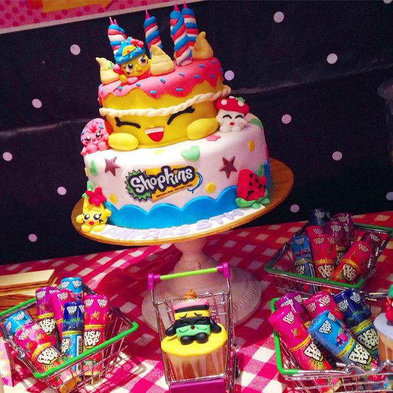 Shopkins Party Birthday cake Dessert Table amp Candy