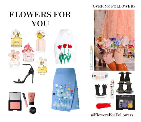 """Flowers For Followers"" by wednesday-williams ❤ liked on Polyvore featuring VIVETTA, Giuseppe Zanotti, Marc Jacobs, Yves Saint Laurent, NARS Cosmetics, Flowers, marcjacobs, narscosmetics and FlowersForFollowers"