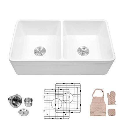Lordear 33 Double Bowl Kitchen Sinks Law3318r2 White Porcelain Ceramic Farmhouse Fireclay Apron Front Double Bowl Kitchen Sink Apron Front Kitchen Sink Sink