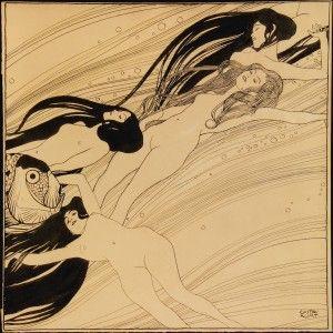 """Gustav Klimt, Fischblut (Illustration für """"Ver Sacrum""""), 1897/98. Private collection, courtesy Galerie St. Etienne, New York"""