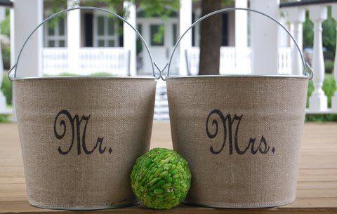 Mr. & Mrs. Burlap Metal Buckets Pails for Wedding or Wedding shower.....rustic chic elegance