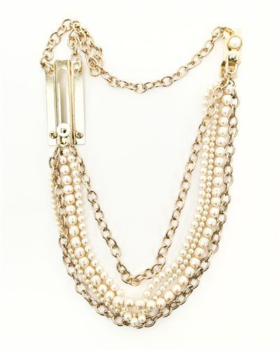 Chainlock necklace, long, gold with vintage white pearls. fully functional chainlock as clasp.