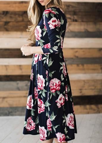 Navy Bailey Midi Dress:
