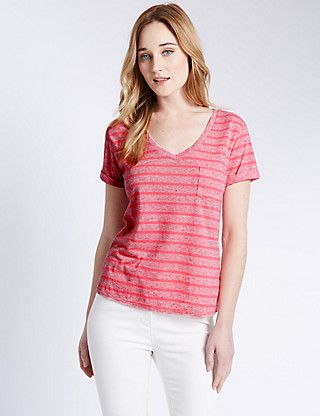 V-Neck Wide Striped T-Shirt with Linen | M&S