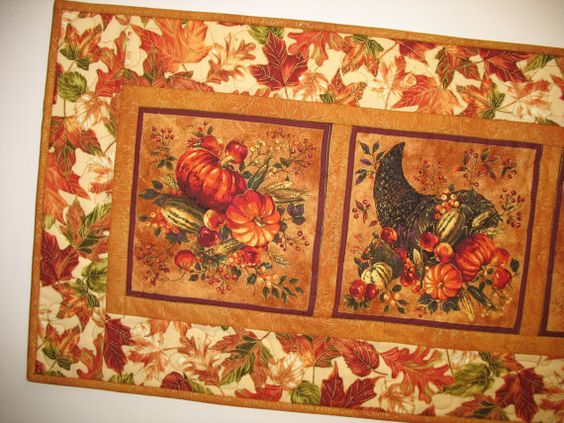 Autumn Table Runner Quilted focus fabric from by PicketFenceFabric, $29.95