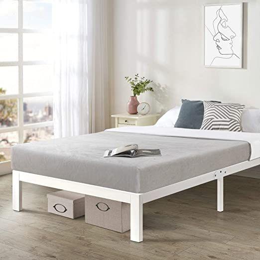 King Size Heavy Duty Bed Frame Steel Slat Platform Series Titan E White Casual Modern Contemporary Traditiona White Bed Frame Queen Size Bed Frames Bed Frame