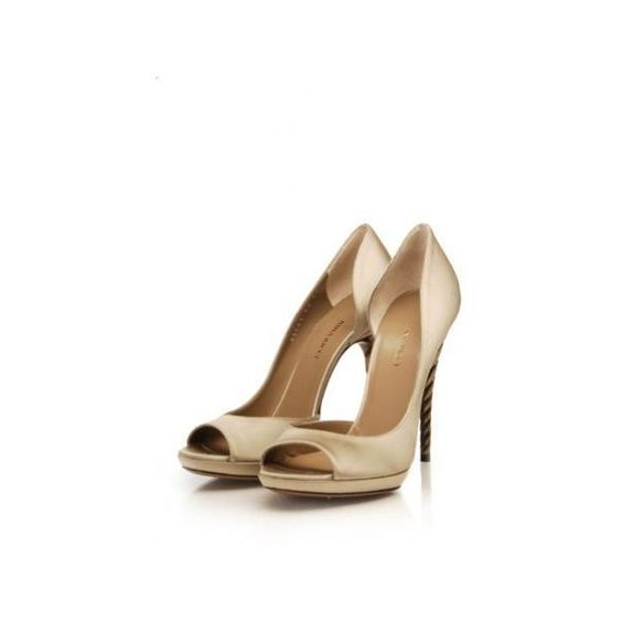 NINA RICCI Satin Peep Toe Pump - Taupe-102 Shoes - 25Park.com ($790) ❤ liked on Polyvore featuring shoes, pumps, heels, sapatos, zapatos, cipele, taupe satin pumps, taupe pumps, satin shoes and nina pumps