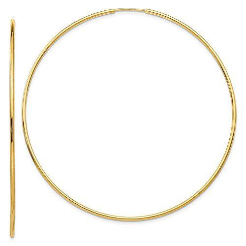 Mia Diamonds 14k Yellow Gold Polished Hollow Hoop Earrings