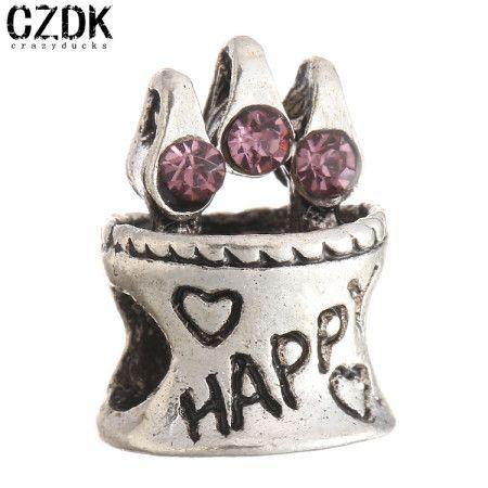 BE-100 Fahion Jewelry Birthday cake European Big Hole Loose Bead Charm Beads Fits Pandora Style Bracelets