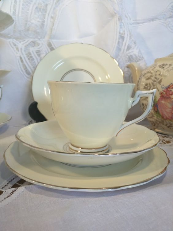 Vintage Tea Trio Melba Bone China Tea Cup Saucer and Plate