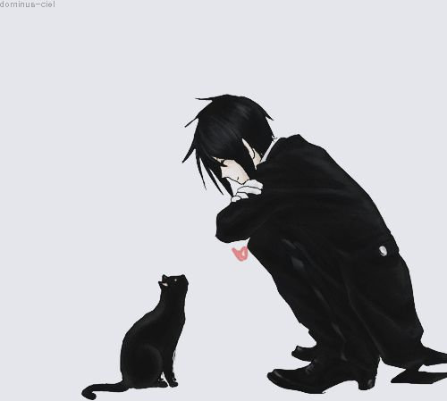 sebastian handsome and cool man with black cat! :3