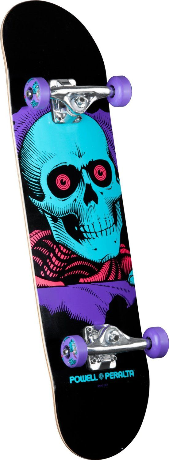 "Powell-Peralta Blacklight Ripper Complete Skateboard Powell-Peralta 'Blacklight' assembly; High quality skateboard with the brand strength of Powell-Peralta; Equipped with Mini Logo trucks and bearings Length: 32.125"" Skate One Corp; Shape: 127 All Powell-Peralta products come with a warranty..."