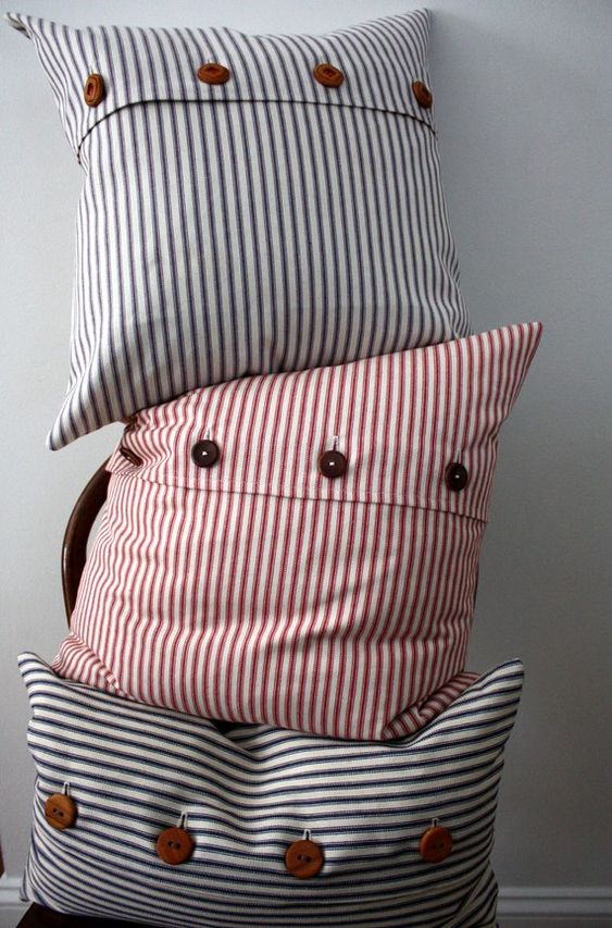 blue ticking stripe pillow cover by willaby on Etsy/  Beach: