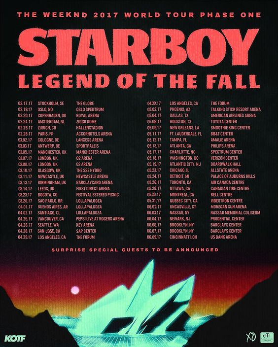 With his third studio album, 'Starboy', slated to arrive next month, The Weeknd has announced a fall tour for Europe and North America.