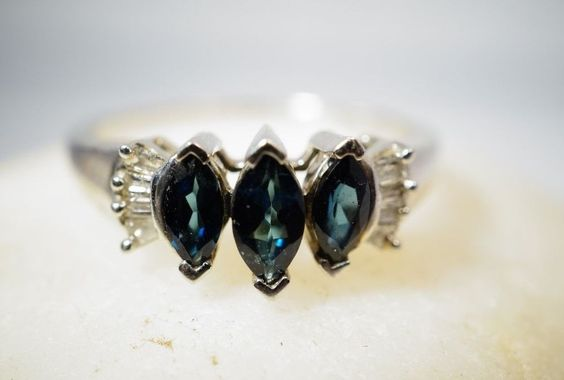 Blue Indicolite Tourmaline, Diamond Sterling Silver Ring Size 6 V-Prong Wedding #ThreeStone