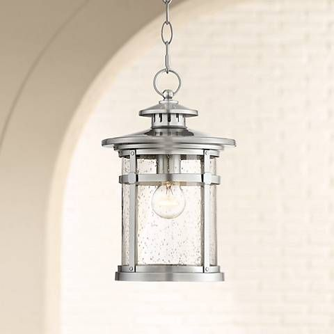 Callaway 13 1 2 High Chrome Outdoor Hanging Light 39r22 Lamps Plus Outdoor Hanging Lights Hanging Lantern Lights Hanging Porch Lights
