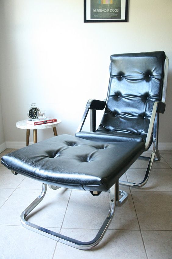 Vintage Stressless Recliner Chair U0026 Ottoman   Faux Black Leather   Chrome  Base   1970u0027s Mid Century Mad Men Style | Mid Century Home | Pinterest |  Recliner, ...