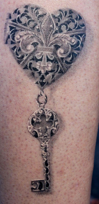Heart tattoo photos portfolio tattoos tags black and for Heart lock and key tattoo