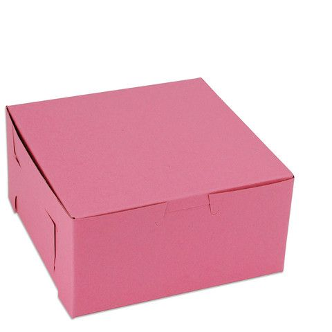 "Pink 6"" Square Bakery Box 