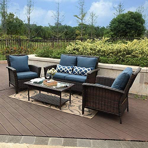 New Phi Villa 4 Pc Patio Wicker Sofa Set Outdoor Rattan Furniture Conversation Set With Cof Rattan Outdoor Furniture Sectional Patio Furniture Rattan Furniture
